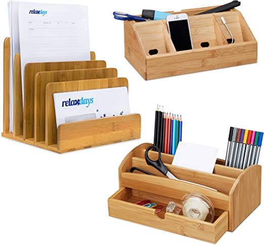 3 piezas, juego de escritorio, bambú, caja para lápices, soporte ...