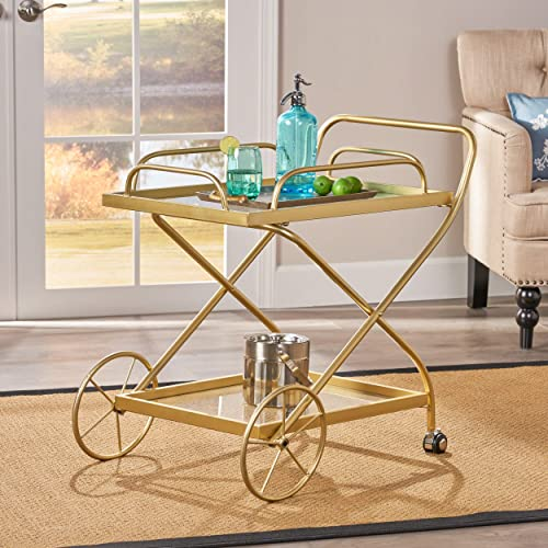 Christopher Knight Home Patty Indoor Traditional Iron and Glass Bar Cart, Gold,