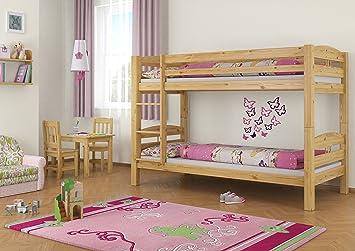 Hochbett Holz 90x200 : Etagenbett kinderbett bett hochbett stockbett mit matratzen holz