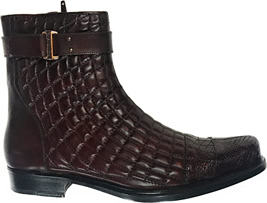 Amazon Com Belvedere Burgundy Alligator Calf Quilted Boot Boots
