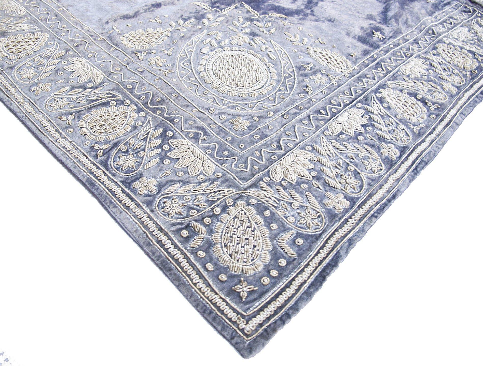 ''Rang Mahal'' Hand Embroidered Beaded Bullion Purl Velvet Christmas Tree Skirt Steel Grey Blue White Gold