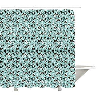Yeuss Vintage-Duschvorhang, Blume mit der Swirls Kurven ...