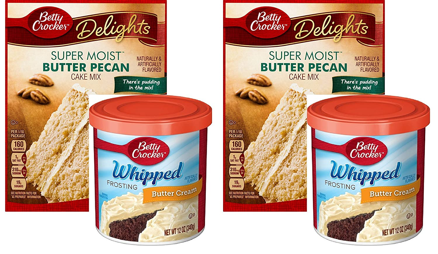 Amazon.com : Betty Crocker Super Moist Butter Pecan Cake Mix and Betty Crocker Whipped Buttercream Frosting Bundle - 2 of Each - 4 Items : Grocery & Gourmet ...