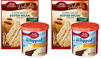 Betty Crocker Super Moist Butter Pecan Cake Mix and Betty Crocker Whipped Buttercream Frosting Bundle -