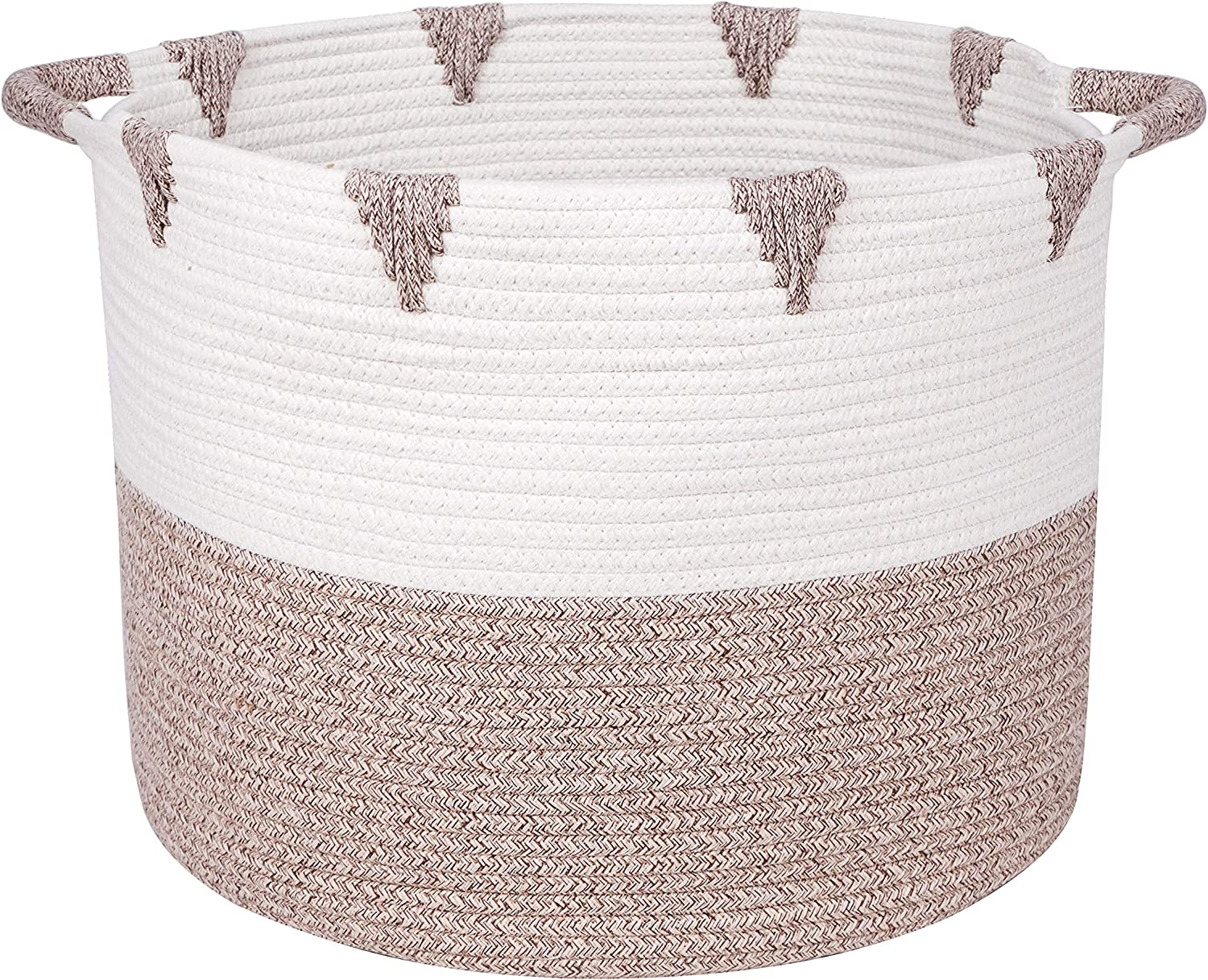 We Care Vida Storage Baskets - Woven Basket Made from Natural Cotton Rope - Baby Laundry Basket with Handle - Decorative Hamper - Perfect Blanket Basket for Your Living Room - Great Gift Decorations