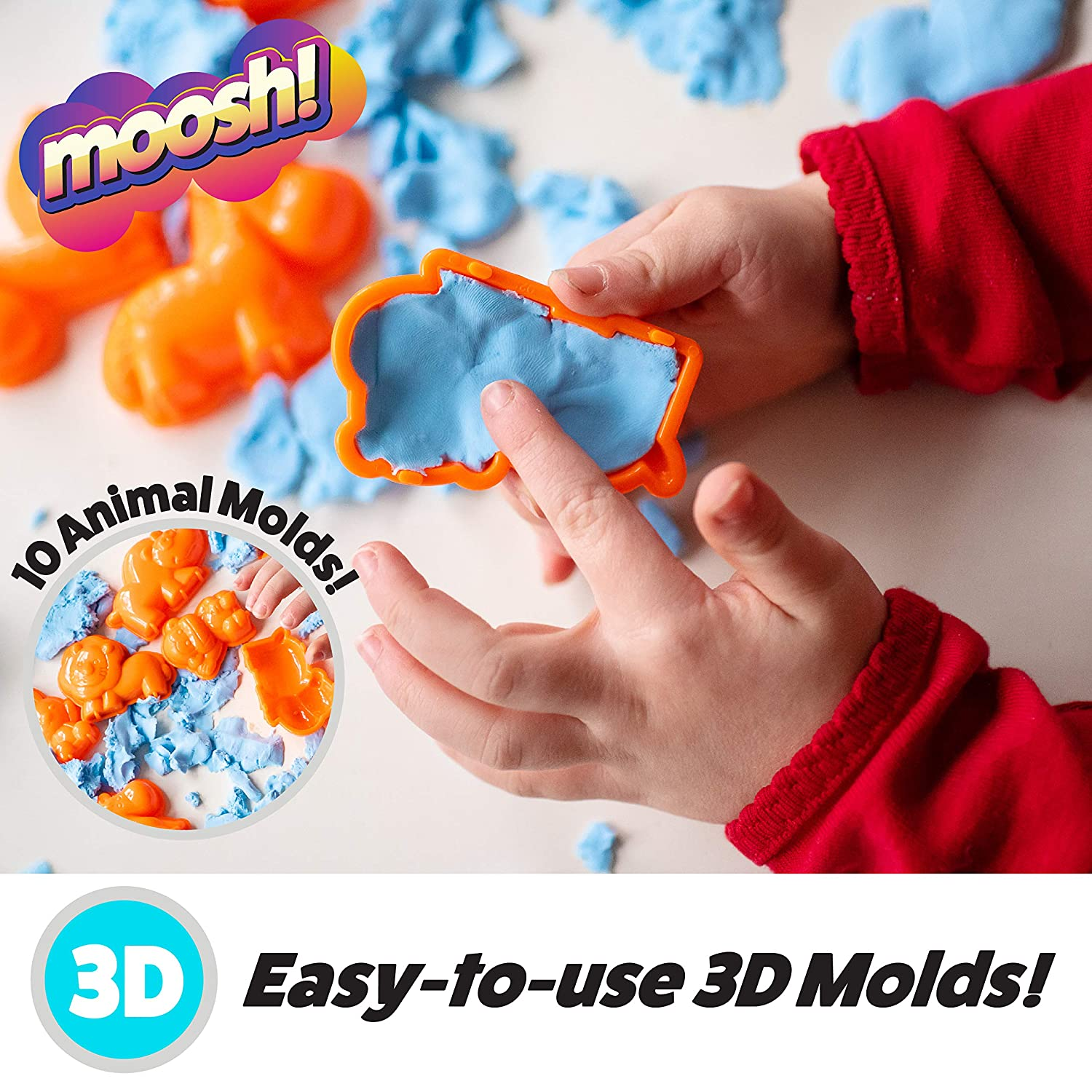 Fluffy Molding Modeling Clay for Kids w// 10 Animal Clay Sand Molds Boys or Girls Kinetic Play Dough Modeling Clay USA Toyz Kids Modeling Clay Sensory Sand