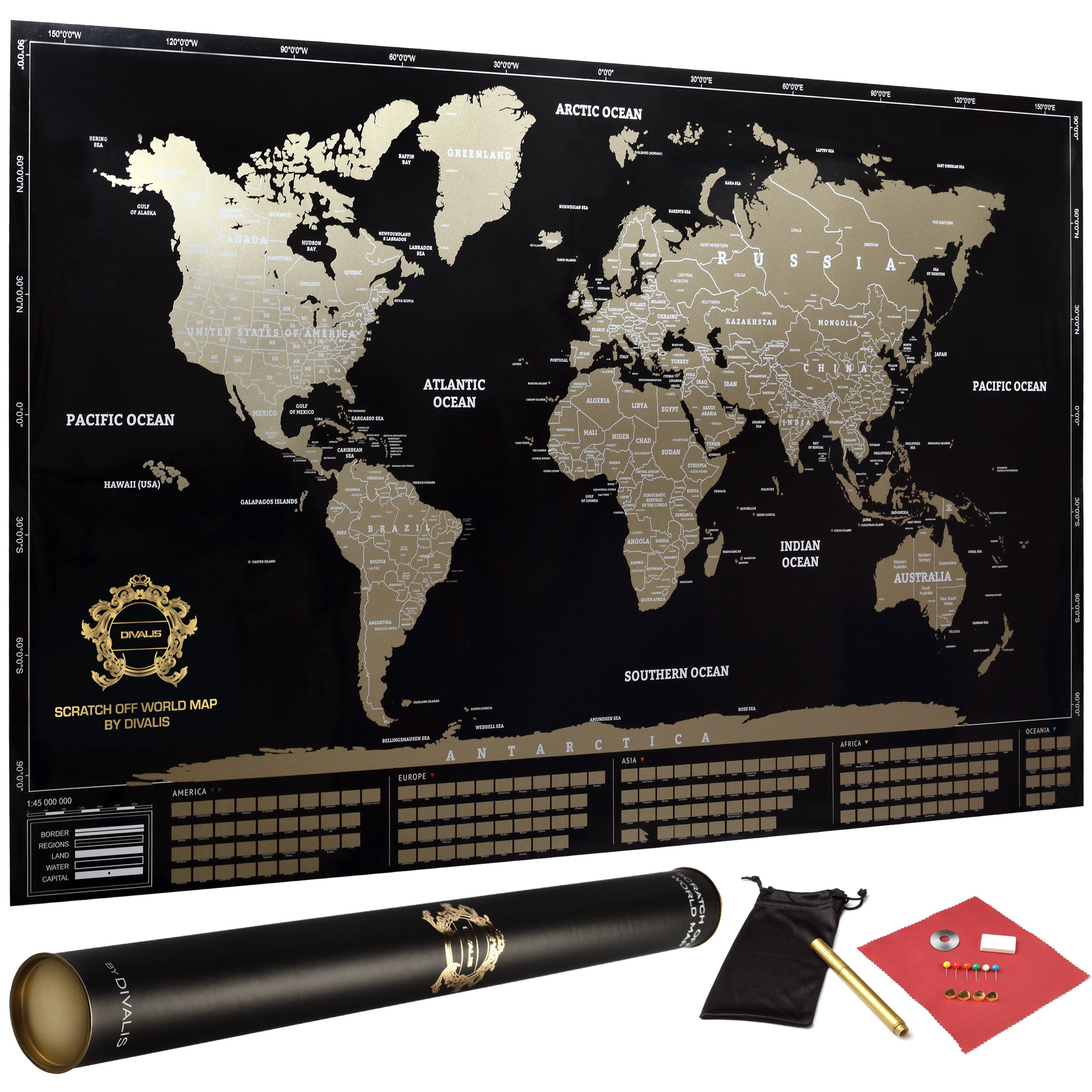 Large Laminated Us Map.Divalis Scratch Off World Map Poster With Flags And Us States