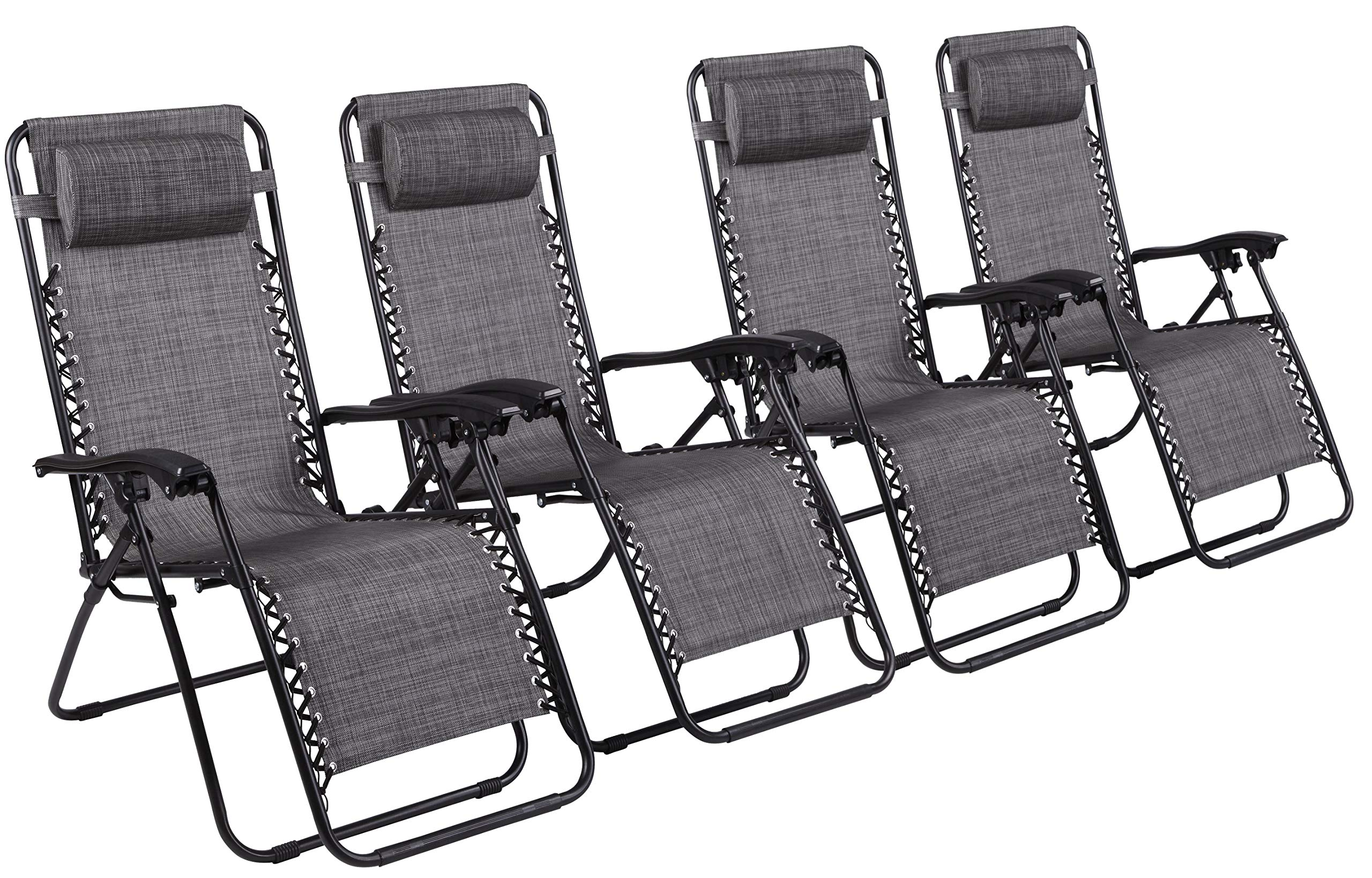 Naomi Home Zero Gravity Lounge Patio Outdoor Recliner Chairs Gray/Set of 4