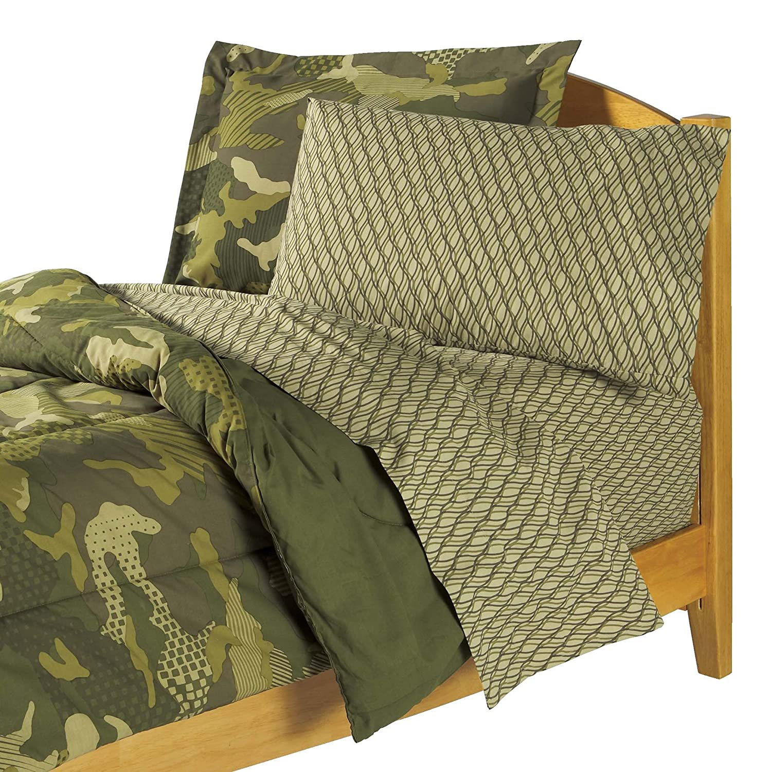 Camo toddler bed sets - Amazon Com Dream Factory Geo Camo Army Boys Comforter Set Green Twin Home Kitchen