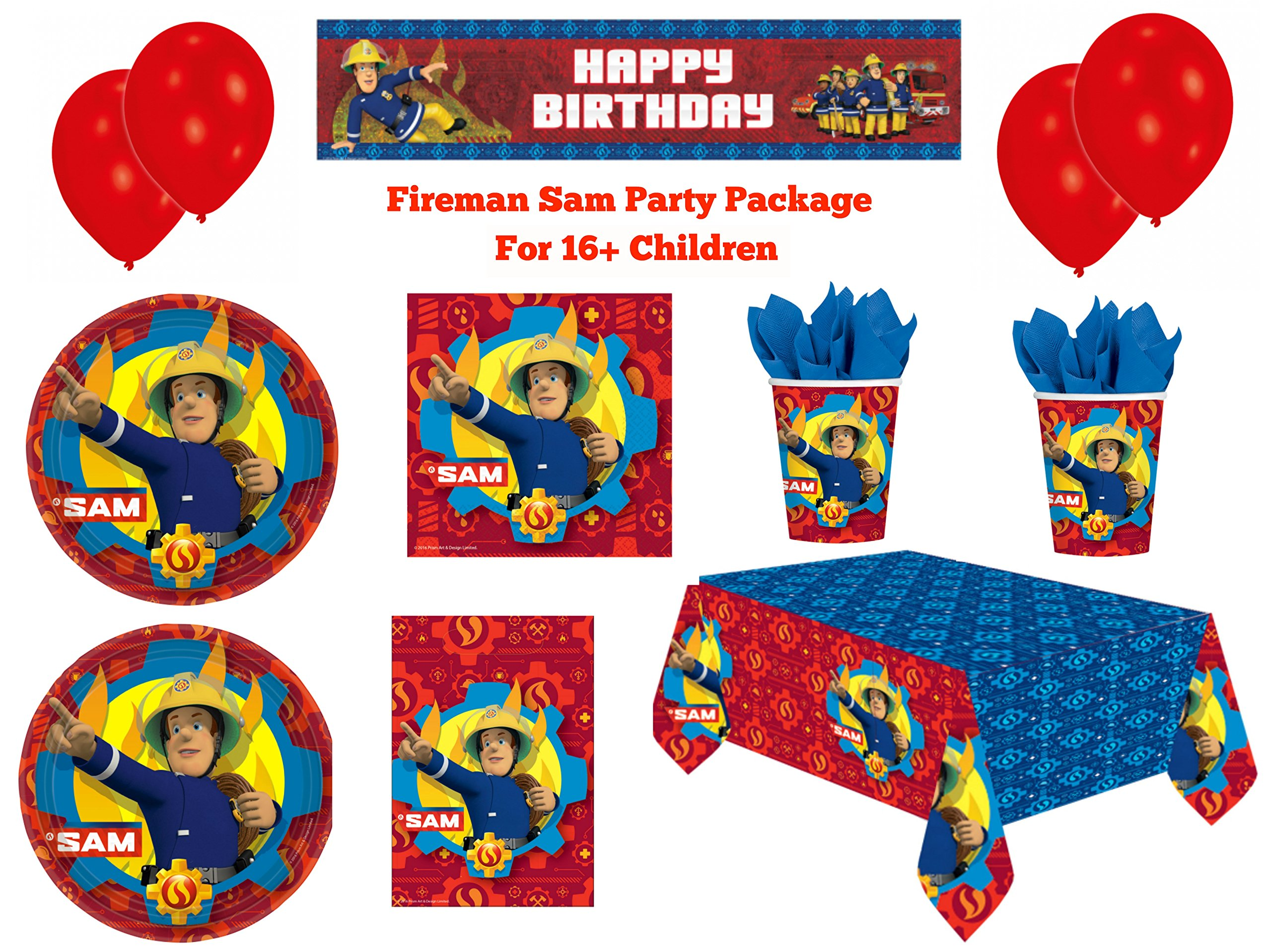 Partypackage Ltd Kids Fireman Sam Birthday Party Package For Boys & Girls Decorations, Tableware & Accessories