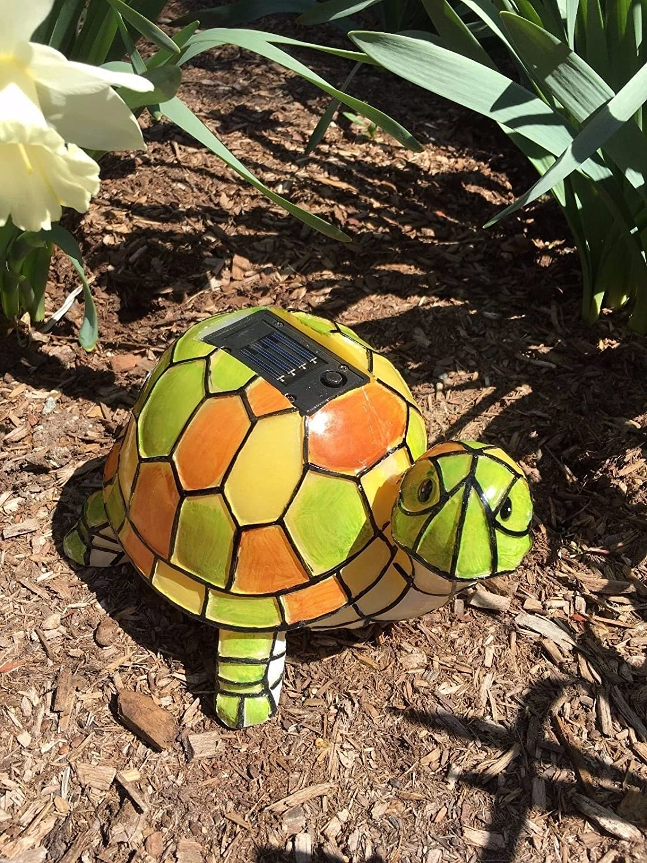 Amazon.com : Solar Tiffany Turtle Statue LED Light, Hand-painted ...