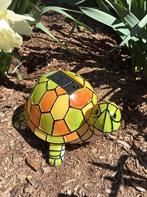Solar Tiffany Turtle Statue LED Light , Hand Painted Garden Outdoor Yard  Decor Landscape Statue
