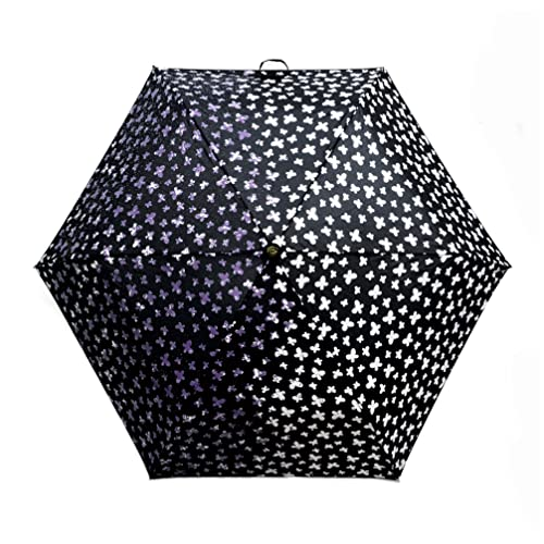 magic umbrella with colour changing butterfly pattern from white to purple