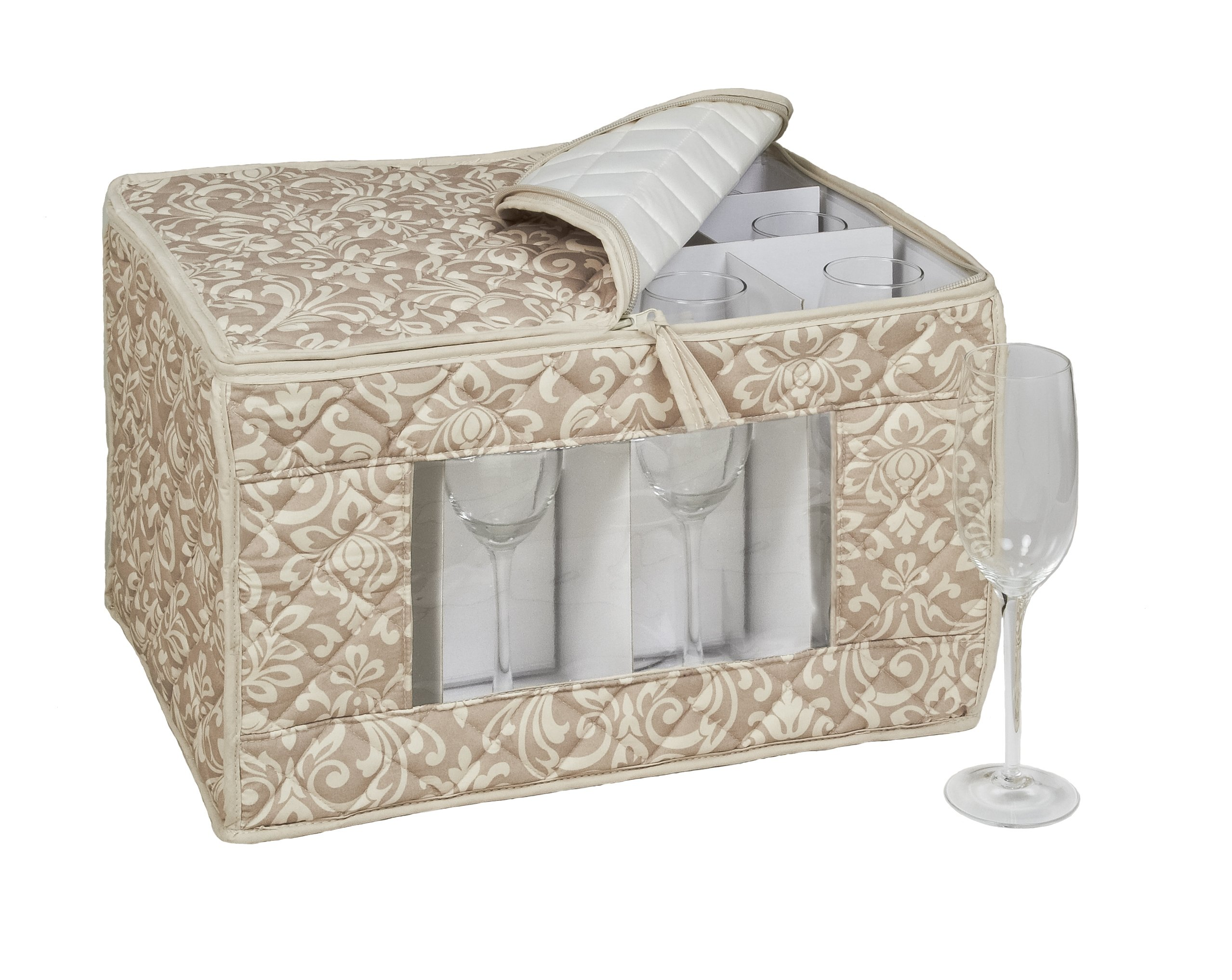 Homewear HUDSON DAMASK Tan Flute Stemware Storage for 12 Glasses, 11 by 14.5 by 9.25-Inch