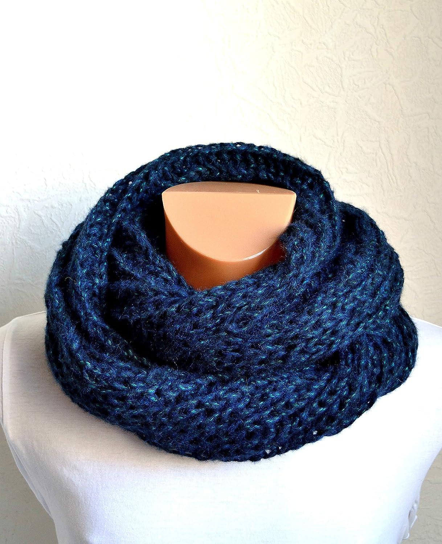 Hand knitted mens alpaca wool snood scarf