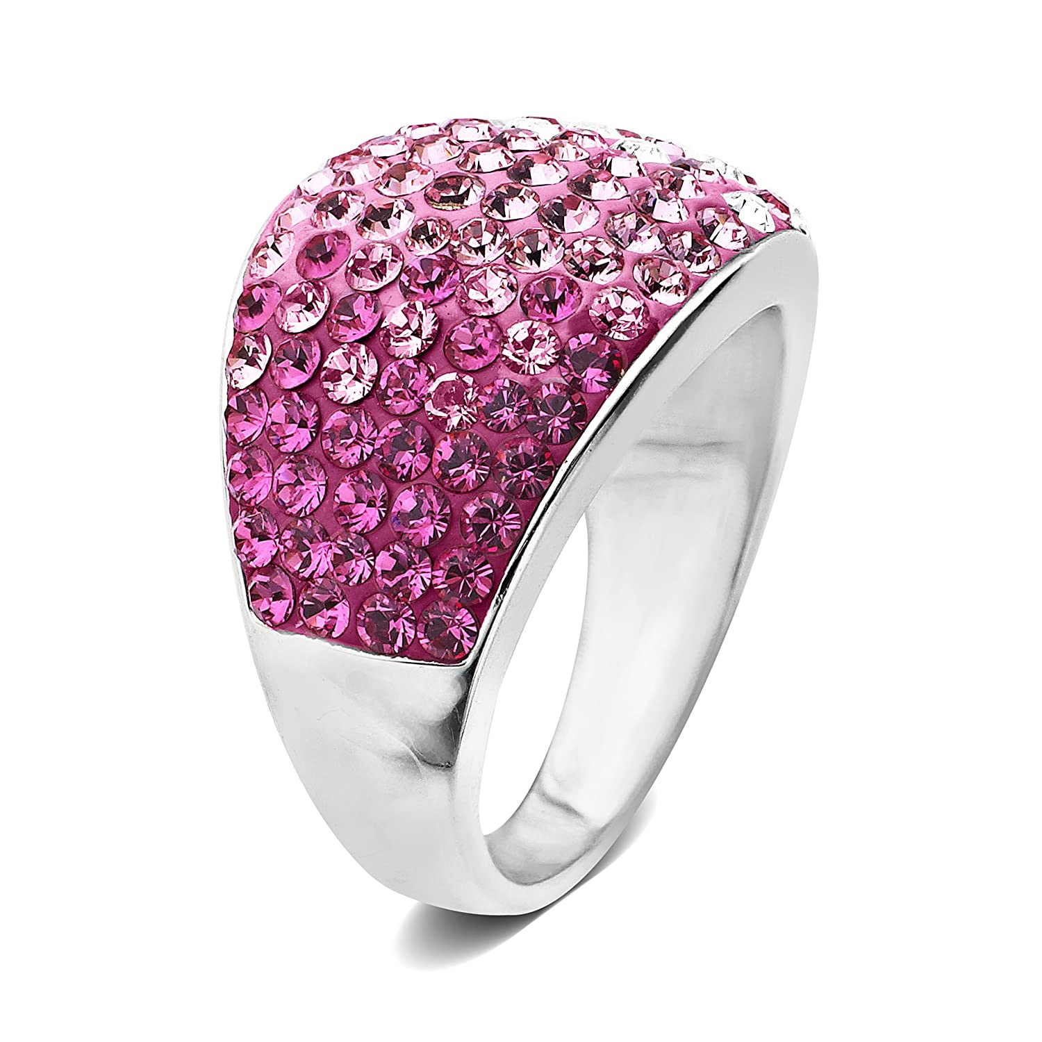 Amazon.com: Sterling Silver Pink Dome Swarovski Elements Ring: Jewelry