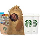 Starbucks Travel Coffee Reusable Recyclable Cups With Lids, Sleeves, Via Instant Coffee Sampler Gift Set Bundle With Burlap Bag, Rustic Gifts For Mom, Coffee Lovers, Birthdays, Anniversaries.
