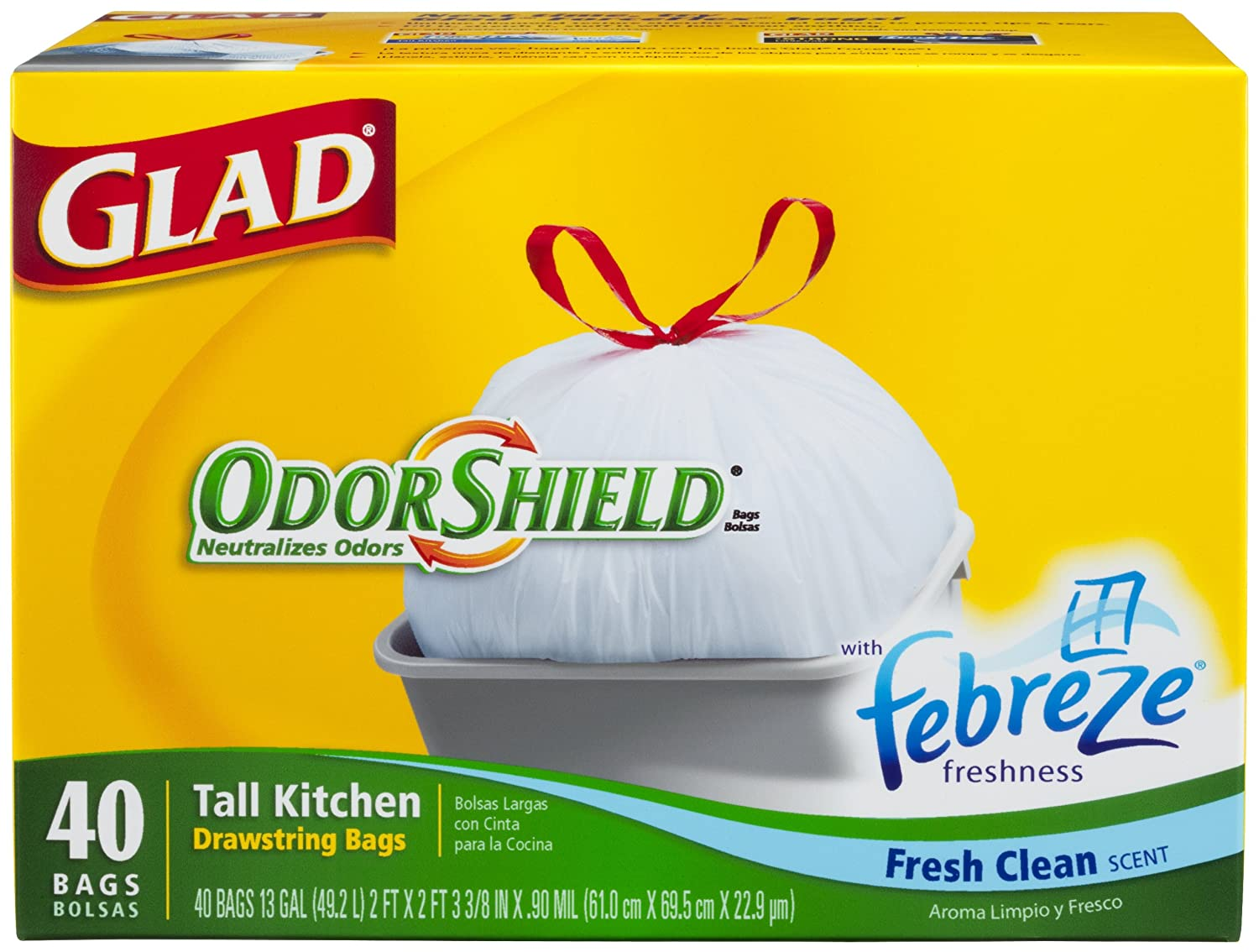 Amazon.com: Glad Drawstring Odor Shield Tall Kitchen Bags, 13 Gallon, 40-Count Bags, (Pack of 6): Health & Personal Care