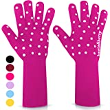 Oven Gloves Oven Mitts Heat Resistant to 932°   1 Pair EN407 Designer BBQ Gloves Heat Resistant for Women with Extra Long Sle