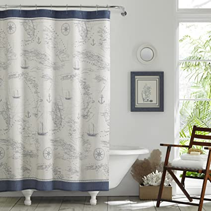 Tommy Bahama Caribbean Sea Shower Curtain 72x72 Lt Pastel Blue