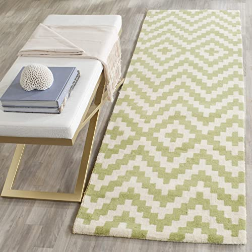 Safavieh Cambridge Collection CAM324N Handcrafted Moroccan Geometric Ivory and Light Green Premium Wool Area Rug 3 x 5