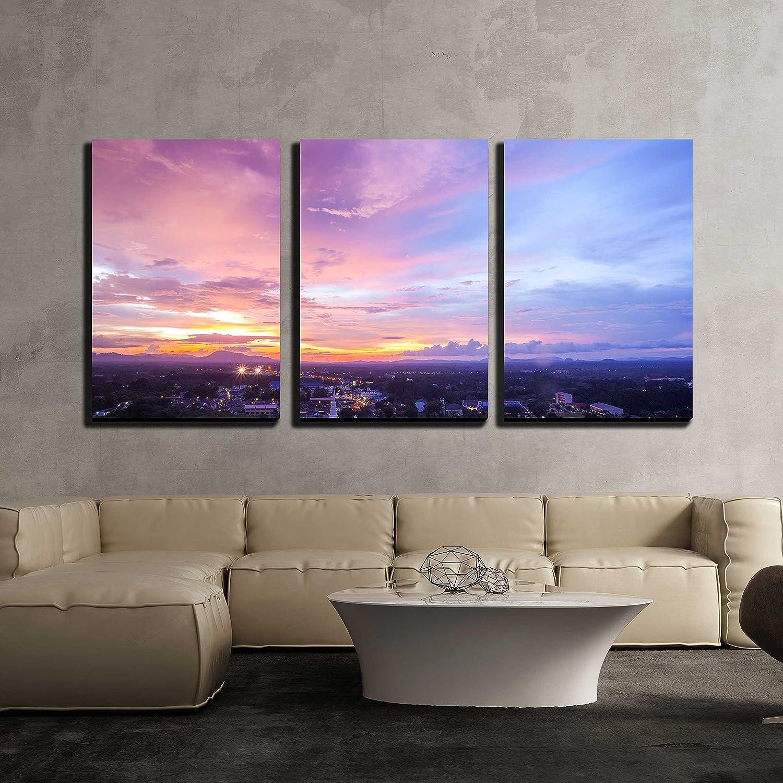 Beautiful Cityscape Sunset At Trang Thailand X3 Panels