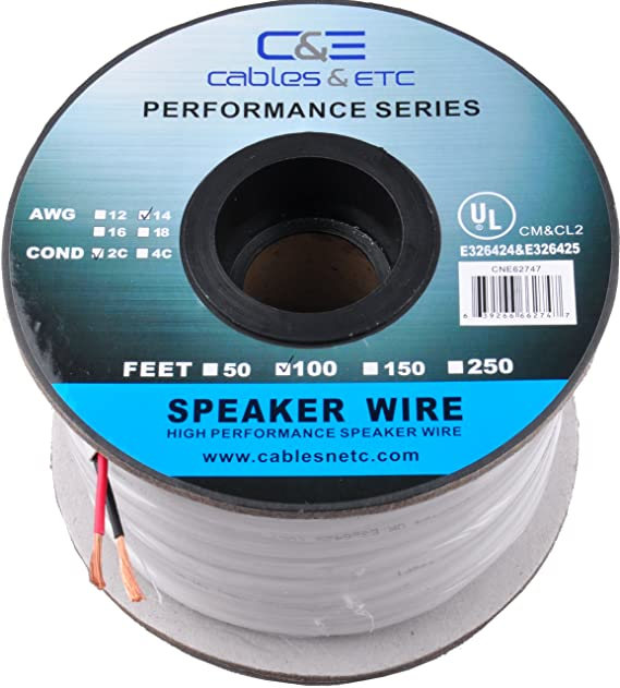 Amazon.com: C&E 100 Feet 14AWG CL2 Rated 2-Conductor Loud Speaker ...