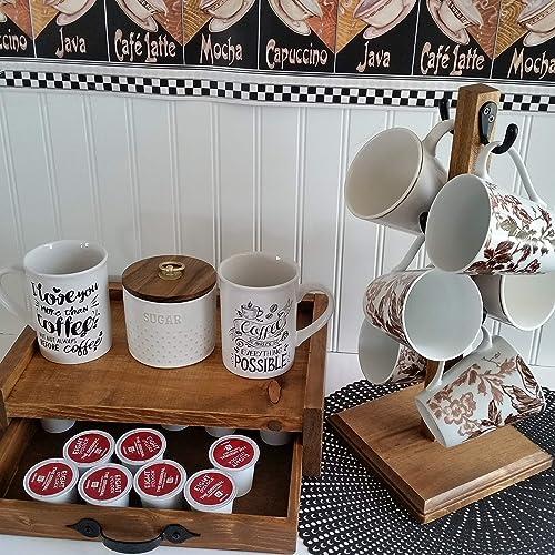 Amazon Com Rustic Mug Stand K Cup Storage Holder 6 Hook Farmhouse Coffee Mug Tree Coffee Bar Sturdy Stand And Condiment Holder Rustic Stain Handmade