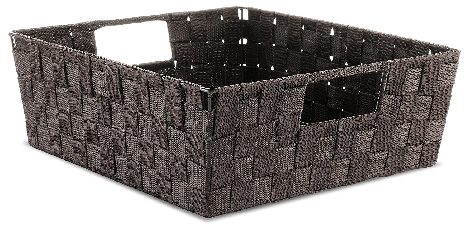 Whitmor Woven Strap Shelf Storage Tote Basket - Espresso
