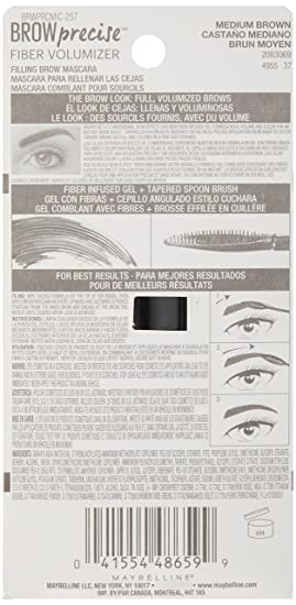 Maybelline New York Brow Precise Fiber Volumizer Eyebrow Mascara, Medium Brown, 0.27 fl. oz.