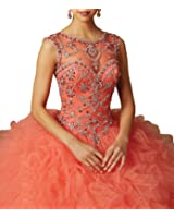 Sunday Women's Sheer Neck Beads Back Hollow Ball Gowns Quinceanera Dresses