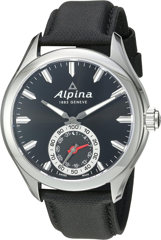 Image of Alpina Horological Smartwatch Quartz Movement Black Dial Men's Watch Smartwatches