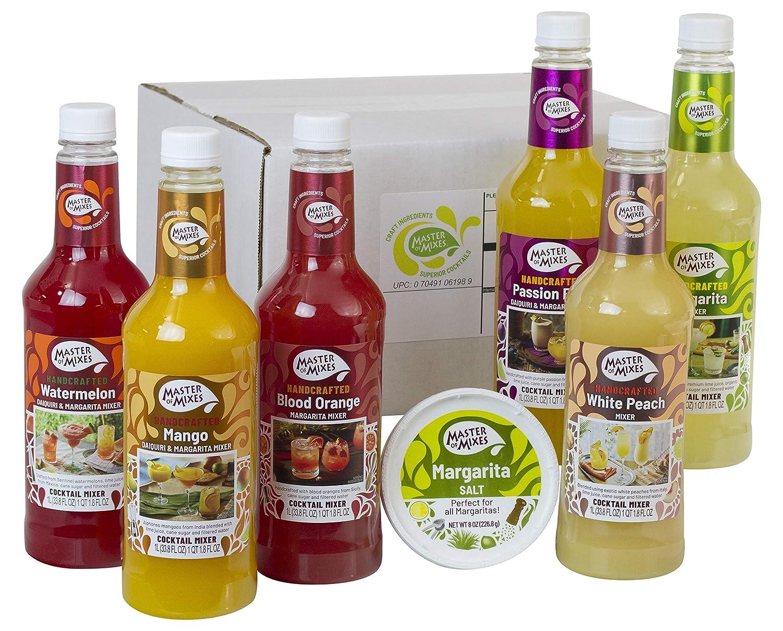 Master of Mixes Margarita / Daiquiri Drink Mixes Variety, Ready to Use, 1 Liter Bottles (33.8 Fl Oz), Pack of 6 Flavors + Margarita Salt