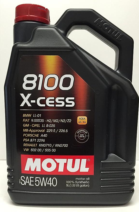 aceite motor MOTUL 8100 X-CESS 5W40 en 7 litros (1x5 lts+ 2x1 lt): Amazon.es: Coche y moto