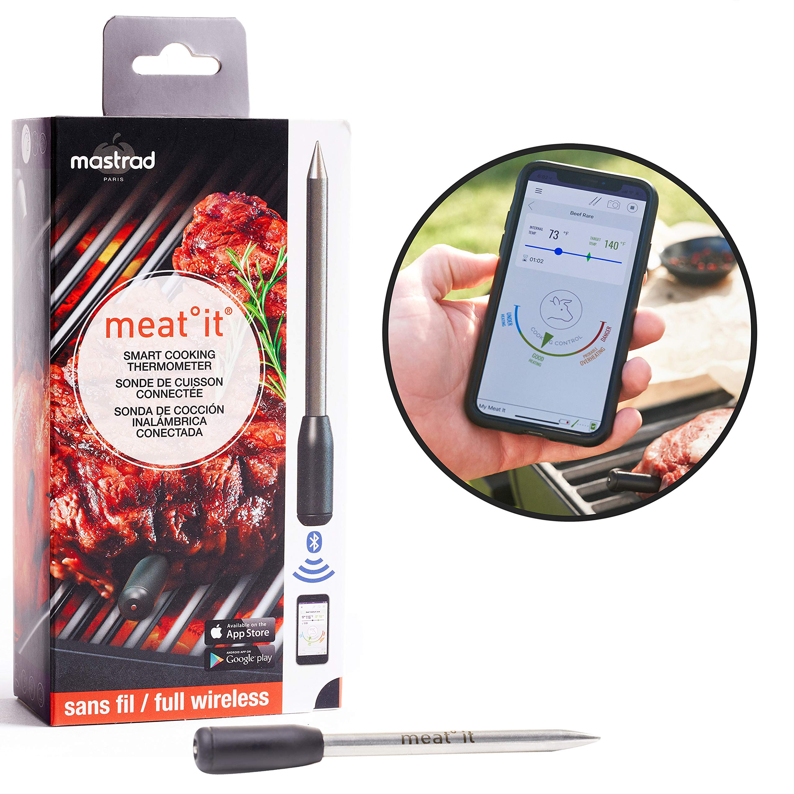 Meat Thermometer | meat it Wireless Grill and BBQ Cooking Sensor | Connects Via Bluetooth To Free Cooking App