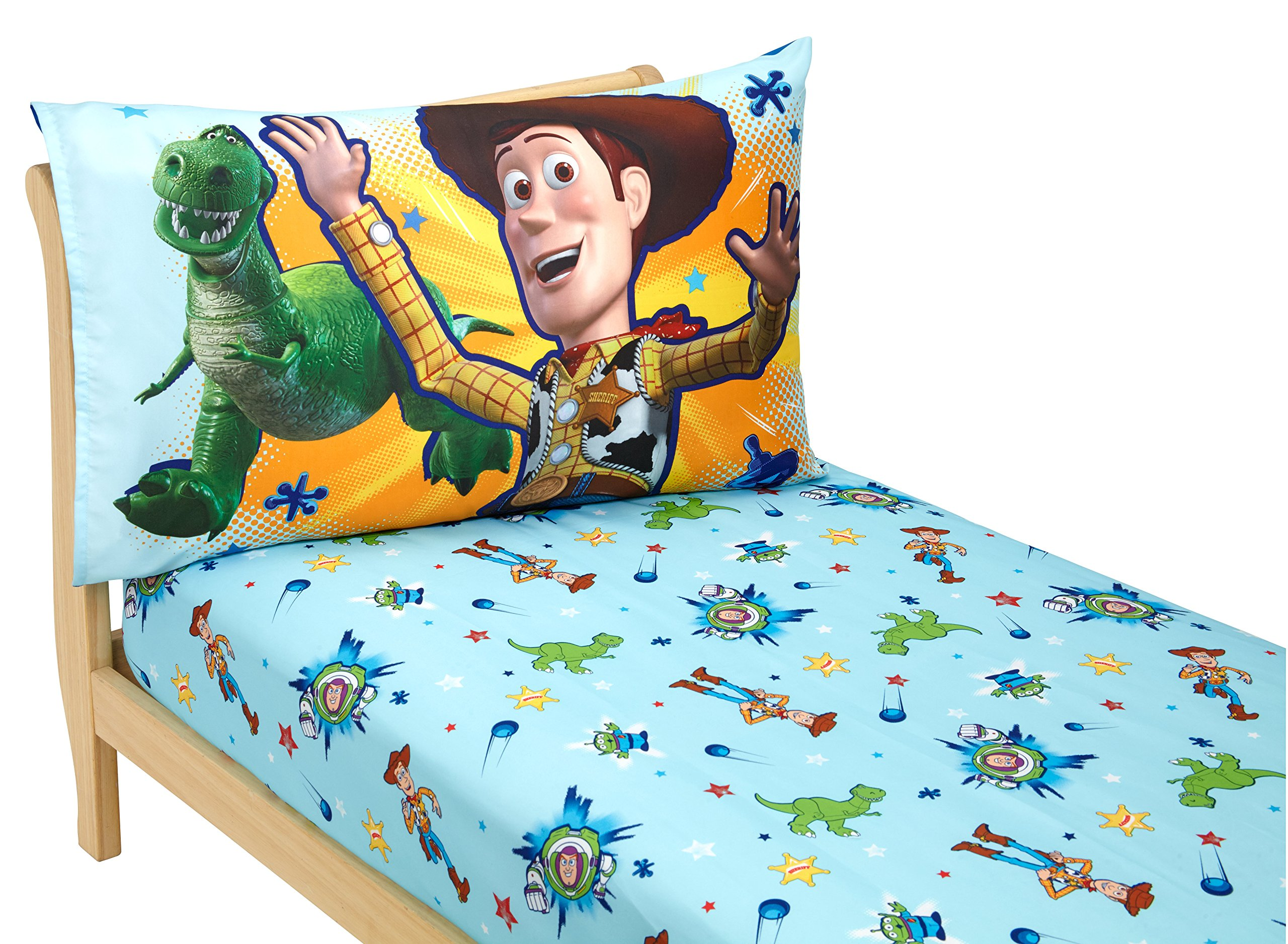 Disney Toy Story Power up 2 Pack Fitted Sheet and Pillowcase Toddler Sheet Set, Blue/Green by Disney (Image #2)