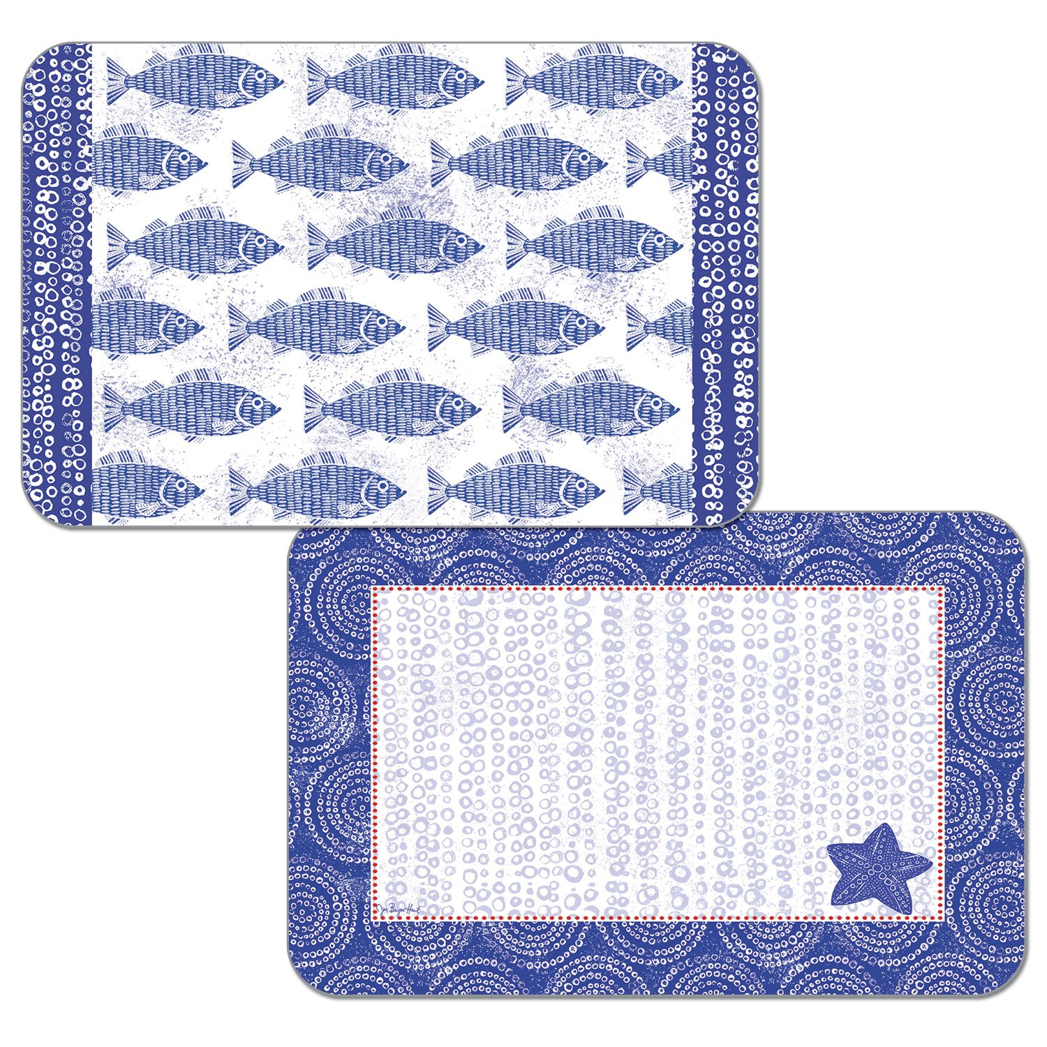 CounterArt Set of 4 Reversible Decofoam Placemats, School of Blue