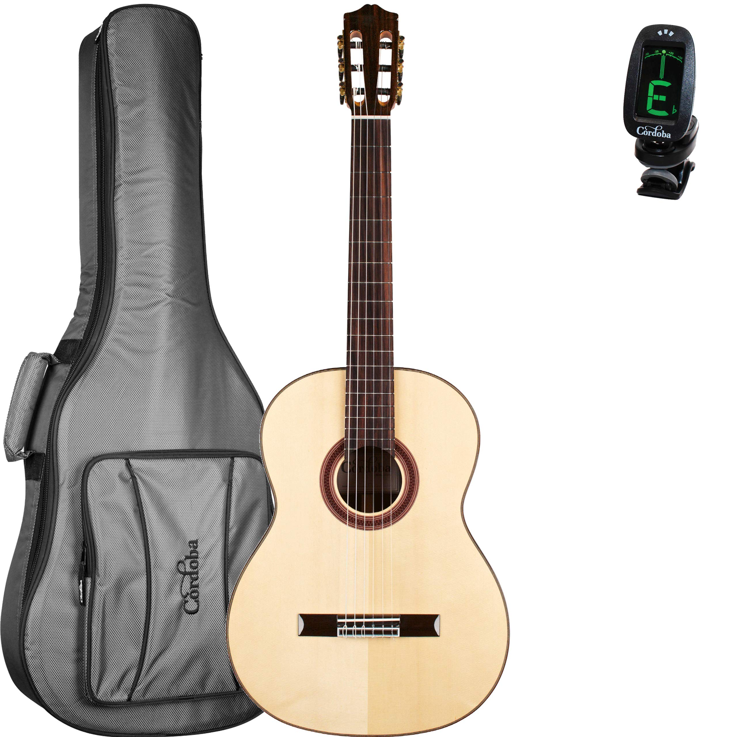Cordoba C7 SP Acoustic Nylon String Classical Guitar Bundle With Deluxe Gig Bag and Cordoba Clip-On Tuner