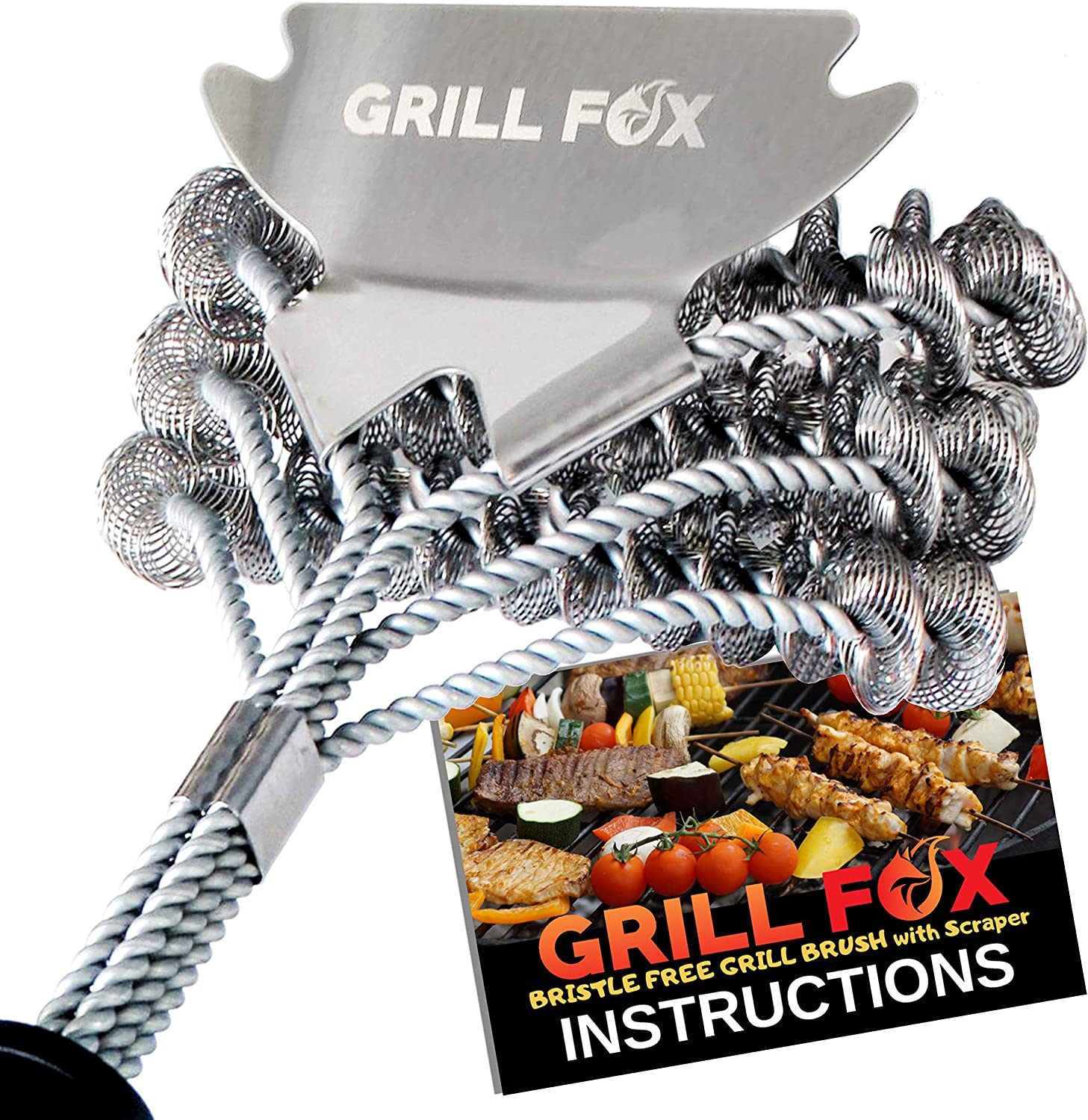 "GRILL FOX Grill Brush Bristle Free – Safe BBQ Cleaner with Scraper – Durable 18"" Stainless Steel Scrubber for Cleaning Gas and Charcoal Barbecue Grates and Grills - Grilling Accessories Tool Gift"