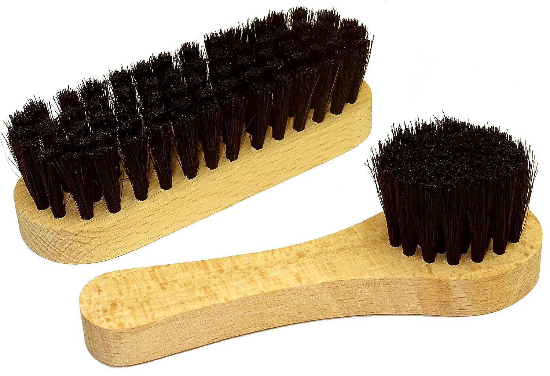 DELARA petite brosse à chaussures et une petite brosse à cirage en poils naturels, couleur: noir 5107