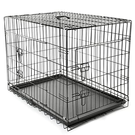 TRESKO® Jaula de Transporte Plegable para Perros (L 90 x 60 x 67 ...
