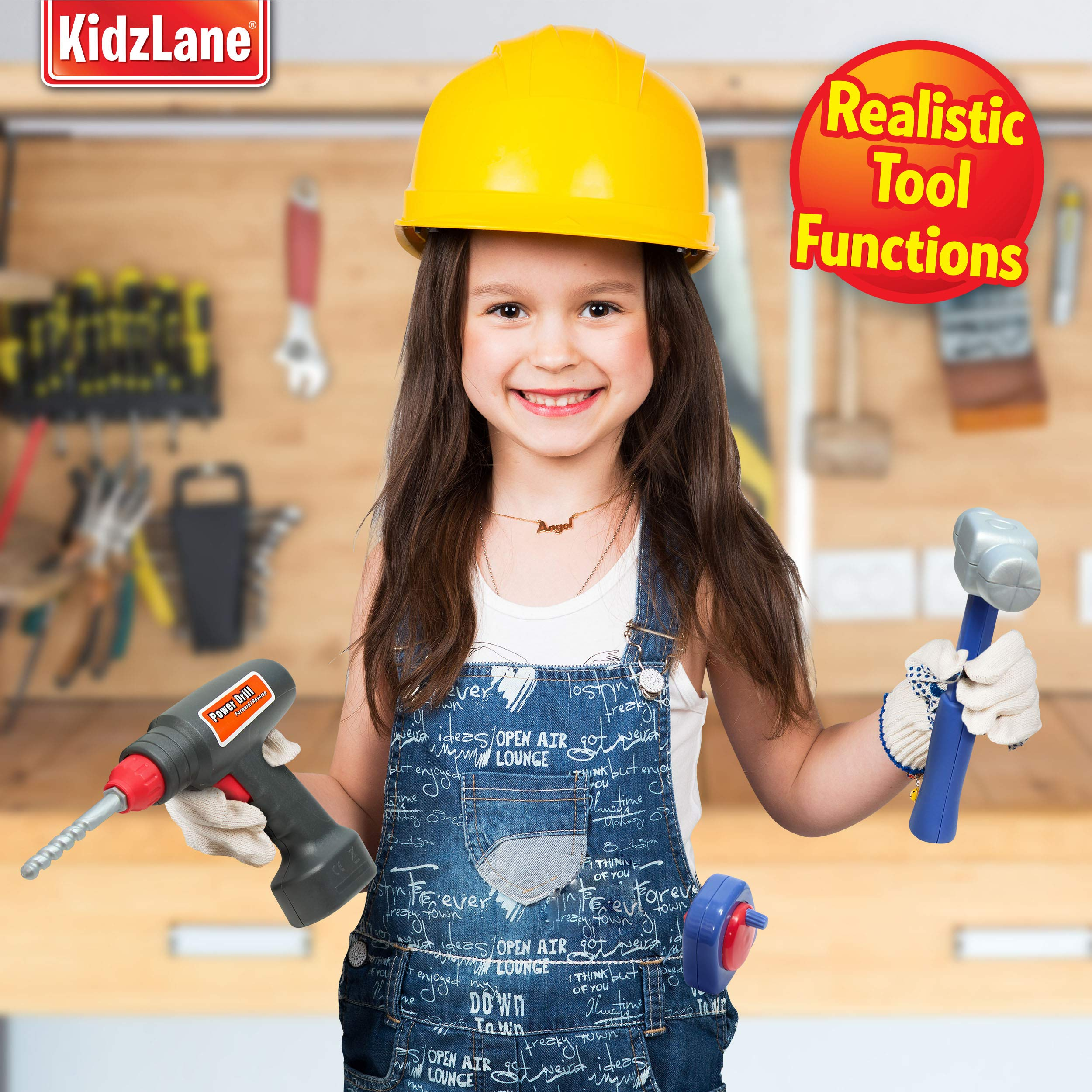 5e2dadbebeb4 Durable Kids Tool Set with Electronic Cordless Drill and 18 Pretend Play  Construction Accessories