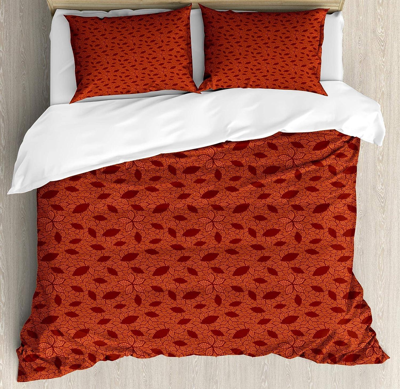 Ambesonne Burnt Orange Duvet Cover Set, Leafage Pattern with Victorian Lace Design Inspired Flower Petals, Decorative 3 Piece Bedding Set with 2 Pillow Shams, King Size, Orange Burgundy