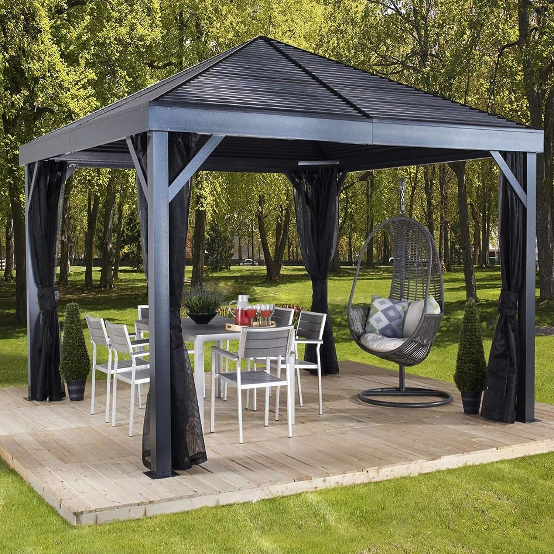 Sojag South Beach - Cenador de aluminio (363 x 363 cm, con techo duro, incluye mosquitera): Amazon.es: Jardín