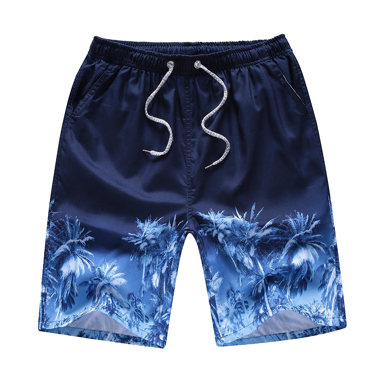 Newland Mens Printing Quick Dry Beach Board Shorts Swim Trunks Plus Size