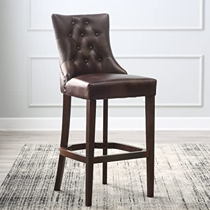 Amazoncom 30 Inch Bonded Tufted Leather Bar Stool Espresso