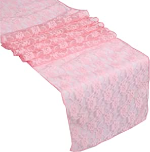 mds Pack of 1 Wedding 12 x 108 inch Lace Table Runner for Wedding Banquet Decor Table Lace Runner- Blush Pink