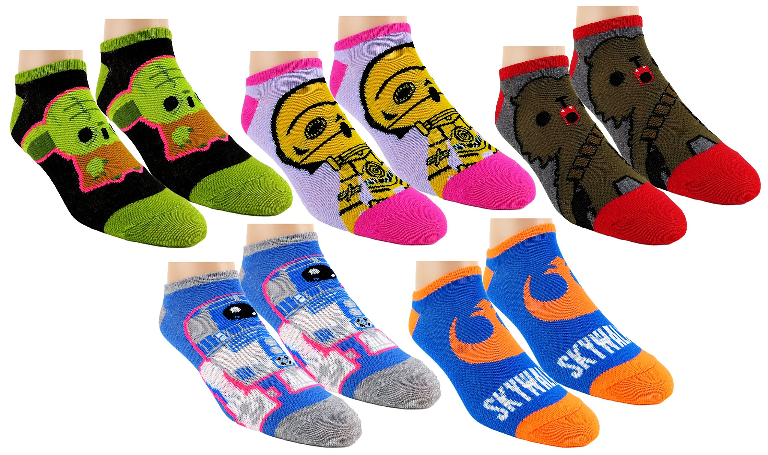 Star Wars Womens Ankle-No Show Socks 5 Pair Pack (One Size, Neon SW)