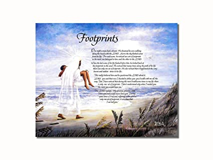 photograph relating to Footprints in the Sand Printable named Footprints within the Sand Christian Non secular Wall Envision 8x10 Artwork Print
