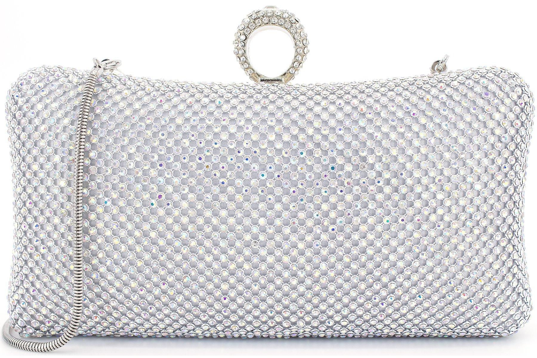 Dexmay Ring Rhinestone Crystal Clutch Purse for Bridal Wedding Party Luxury Women Evening Bag AB Silver